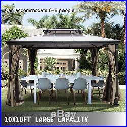 Patio Gazebo Canopy Hardtop with Mosquito Netting 10x10 ft Outdoor Gazebo Canopy