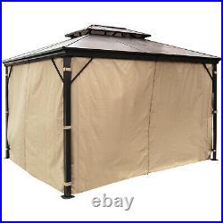 Patio Gazebo Canopy Hardtop with Mosquito Netting 10x12 ft Outdoor Gazebo Canopy