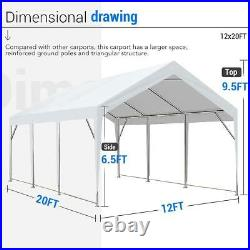 Peaktop Outdoor 12x20ft White Carport Car Shelter Heavy Duty Canopy Shed Garage