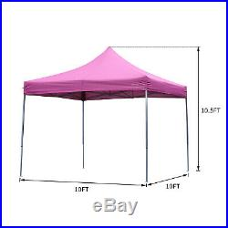 Pop Up 10'X10' Outdoor Canopy Party Wedding Tent Pink Patio Gazebo with4 Side Wall