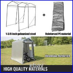 Portable Storage Shed, Portable Garage Shelter, 6x10x7.8 ft Storage Shelter, Grey