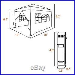 Quictent 10x10' 100%Waterproof EZ Pop Up Party Wedding Tent Canopy Gazebo Black