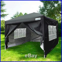 Quictent 10x10 EZ Pop Up Canopy Party Tent Gazebo Black 4 Removable Sidewalls