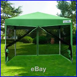 Quictent 10x10 Pop Up Screen House Canopy Tent with Netting Mesh Sidewall Green