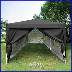 Quictent 10x20 Feet Black Screen Curtain EZ Pop Up Canopy Party Tent Gazebo