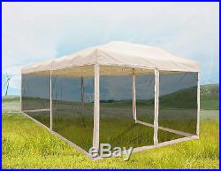 Quictent 10x20 Pop Up Gazebo Canopy Screen House Mesh Sidewall with Netting Tan