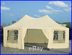 Quictent 22'x16' Heavy Duty Octagonal Wedding Party Tent Gazebo Canopy Beige