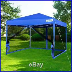 Quictent 8x8 EZ Pop up Canopy Tent with Netting Screen House Waterproof Blue