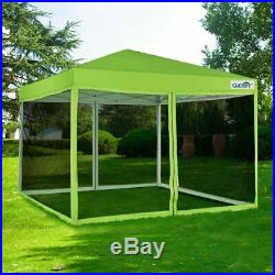 Quictent 8x8 Green EZ Pop Up Canopy with Netting Mesh Sides Screen House Tent