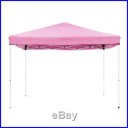 Quictent 8x8 Pink Easy Pop Up Canopy with Netting Screen House Mesh Side Wall