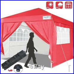 Quictent EZ Pop Up Canopy 10x10 FT Red Outdoor Patio Party Tent Folding Gazebo