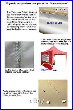Quictent Pyramid-roof 10 X 10 EZ POP UP CANOPY TENT GAZEBO 4 WALLS Waterproof