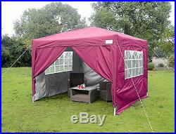 Quictent Silvox 10x10'EZ Pop Up Canopy Gazebo Party Tent Pink 100% Waterproof