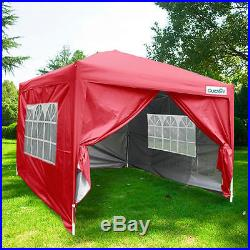 Quictent Silvox 8'x8'EZ Pop Up Canopy Gazebo Party Tent Red 100% Waterproof