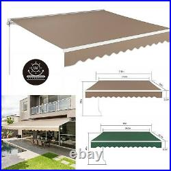 Retractable Manual Patio Awning Aluminum Deck Sunshade Shelter Outdoor Canopy