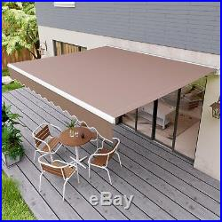 Retractable Manual Patio Awning Anti-UV Deck Canopy Backyard Sun Shade Shelter