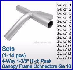 (SET of 1-20) 4-Way 1-3/8'' ID High Peak Canopy Frame Fittings Connectors Ga 16