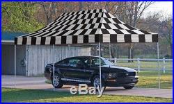 ShelterLogic 10x20 ST Pop-up Canopy, Checkered Flag Cover, Black Roller Bag NEW