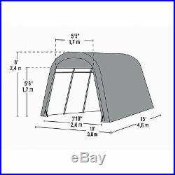ShelterLogic Roundtop Instant Garage-Tan 15ftL x 10ftW x 8ftH 62689