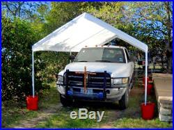 Steel Frame Canopy With Sidewall Shelter Portable Carport Car Garage Shade 10x20