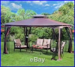 Steel Gazebo Large Pergola Heavy Duty 11x13 Fabric Canopy Roof Patio Metal Frame