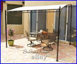 Sunshade Awning Gazebo Canopy Black Scrolled Frame Tan Fabric Patio Deck Decor