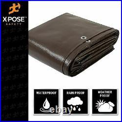 Super Heavy Duty All Purpose Brown Poly Tarp 16 Mil Waterproof Cover Tarpaulin