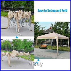 Upgraded Quictent 10x10 EZ Pop Up Canopy Gazebo Party Tent with 4 Sides Beige