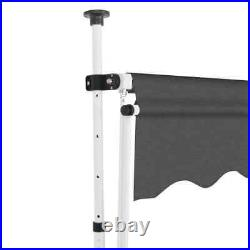 VidaXL Manual Retractable Awning 157.5 Anthracite Stripes Outdoor Awnings