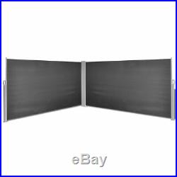VidaXL Side Awning 63x236 Retractable Black Patio Garden Terrace Sun Shade