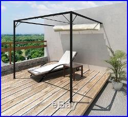 Wall Mount Gazebo Outdoor Garden Sun Protection Retractable Roof Cream Awning