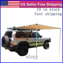 Waterproof Car Side Awning Rooftop Pull Out Tent Heavy Duty Shelter Black 6'6
