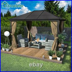 YITAHOME 10X13ft Outdoor Canopy Gazebo with Mosquito Netting Party Tent Aluminum