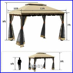 YITAHOME 10x12 Gazebo Canopy Double Roof Garden Tent Patio with Mosquito Netting
