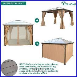 YITAHOME 10x12 Hardtop Aluminum Gazebo Canopy Party Mosquito Net Party Tent